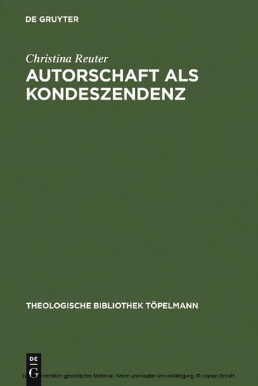 Autorschaft als Kondeszendenz - Blick ins Buch