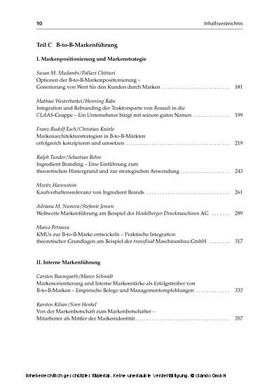 B-to-B-Markenführung - Blick ins Buch