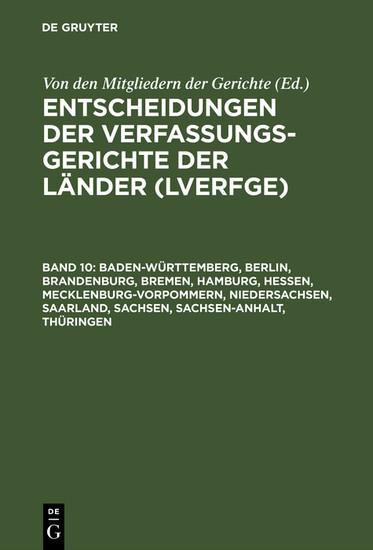 Baden-Württemberg, Berlin, Brandenburg, Bremen, Hamburg, Hessen, Mecklenburg-Vorpommern, Niedersachsen, Saarland, Sachsen, Sachsen-Anhalt, Thüringen - Blick ins Buch