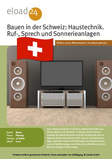 Bauen in der Schweiz: Haustechnik. Ruf-, Sprech und Sonnerieanlagen, Kabelanschluss, Heimkino und Telefon - Blick ins Buch