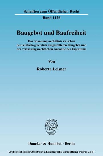 Baugebot und Baufreiheit. - Blick ins Buch