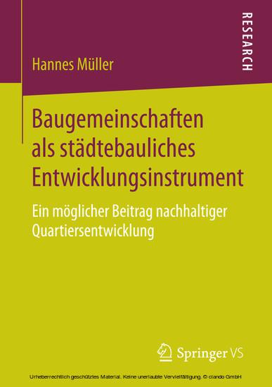 Baugemeinschaften als städtebauliches Entwicklungsinstrument - Blick ins Buch