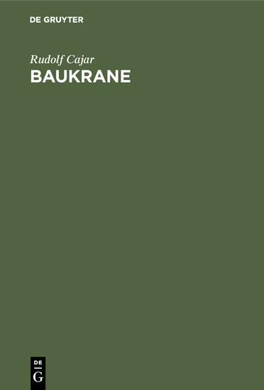 Baukrane - Blick ins Buch