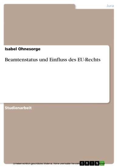 Beamtenstatus und Einfluss des EU-Rechts - Blick ins Buch