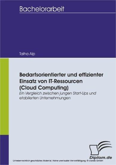 Bedarfsorientierter und effizienter Einsatz von IT-Ressourcen (Cloud Computing): Ein Vergleich zwischen jungen Start-Ups und etablierten Unternehmungen - Blick ins Buch