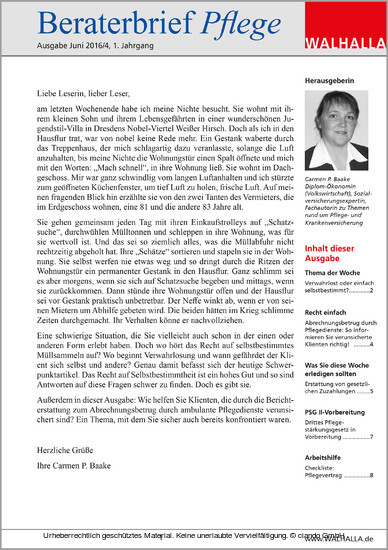 Beraterbrief Pflege Ausgabe Juni 2016/4 - Blick ins Buch