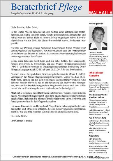 Beraterbrief Pflege Ausgabe September 2016/10 - Blick ins Buch
