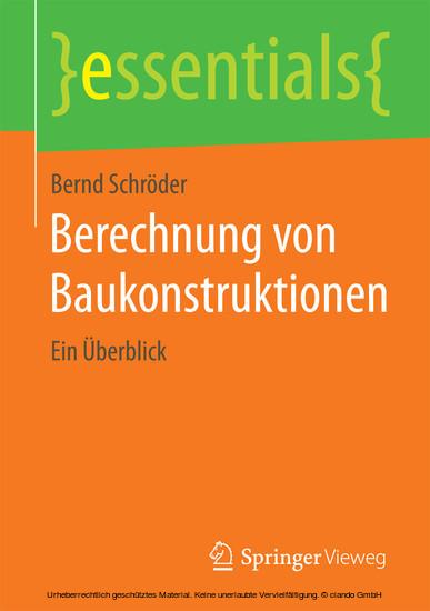 Berechnung von Baukonstruktionen - Blick ins Buch