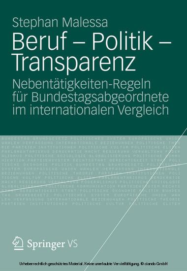 Beruf - Politik - Transparenz - Blick ins Buch