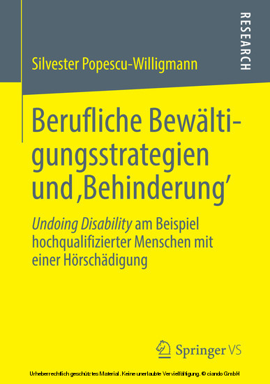 Berufliche Bewältigungsstrategien und 'Behinderung' - Blick ins Buch
