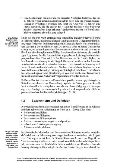 Beschwerdenvalidierung - Blick ins Buch