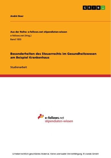Besonderheiten des Steuerrechts im Gesundheitswesen am Beispiel Krankenhaus - Blick ins Buch