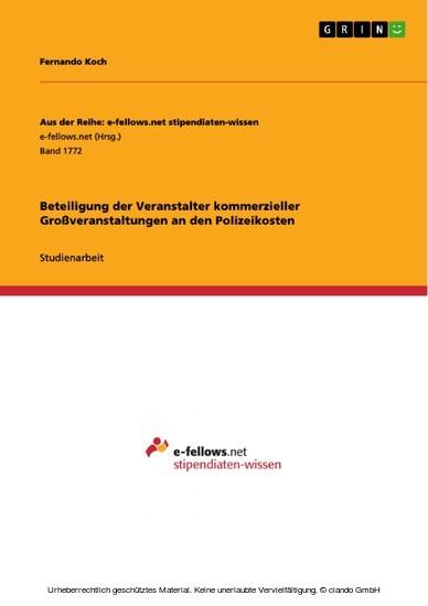 Beteiligung der Veranstalter kommerzieller Großveranstaltungen an den Polizeikosten - Blick ins Buch