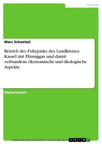 Betrieb des Fuhrparks des Landkreises Kassel mit Flüssiggas und damit verbundene ökonomische und ökologische Aspekte - Blick ins Buch