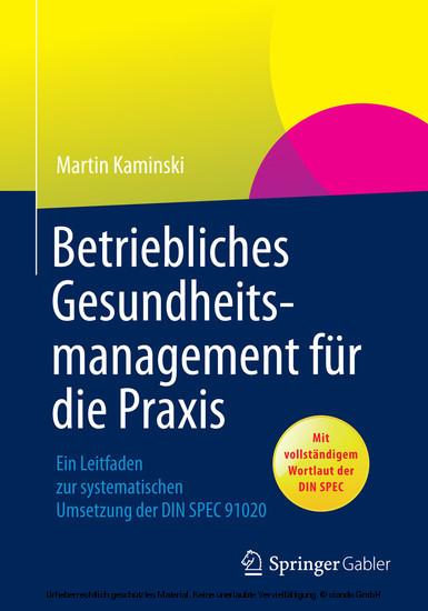 Betriebliches Gesundheitsmanagement für die Praxis - Blick ins Buch