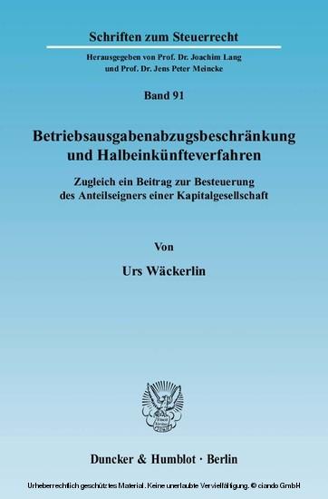 Betriebsausgabenabzugsbeschränkung und Halbeinkünfteverfahren. - Blick ins Buch