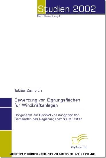 Bewertung von Eignungsflächen für Windkraftanlagen - Blick ins Buch