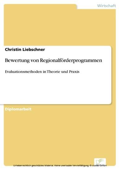 Bewertung von Regionalförderprogrammen - Blick ins Buch