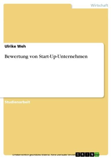 Bewertung von Start-Up-Unternehmen - Blick ins Buch