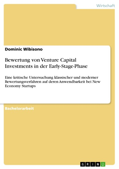 Bewertung von Venture Capital Investments in der Early-Stage-Phase - Blick ins Buch