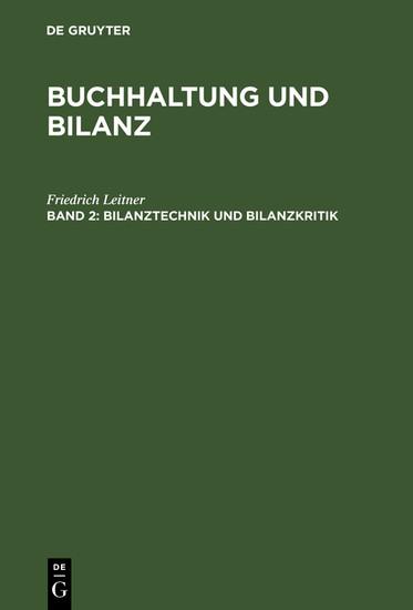 Bilanztechnik und Bilanzkritik - Blick ins Buch
