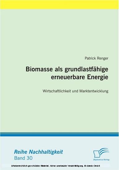 Biomasse als grundlastfähige erneuerbare Energie: Wirtschaftlichkeit und Marktentwicklung - Blick ins Buch