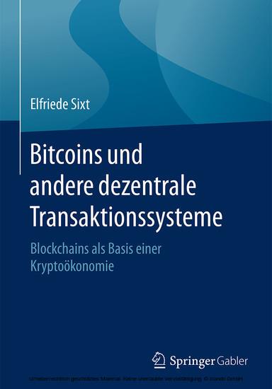 Bitcoins und andere dezentrale Transaktionssysteme - Blick ins Buch