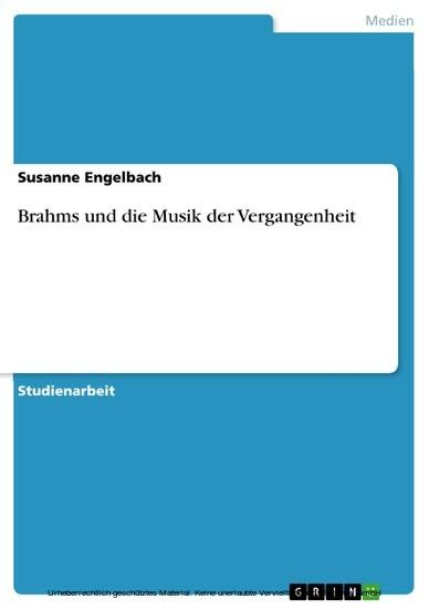 Brahms und die Musik der Vergangenheit - Blick ins Buch