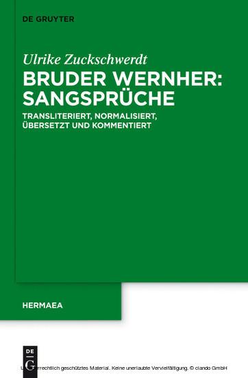 Bruder Wernher: Sangsprüche - Blick ins Buch