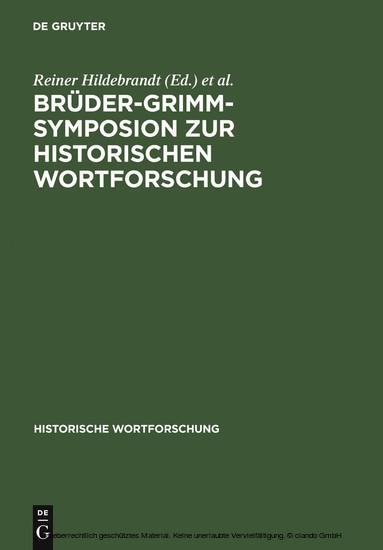 Brüder-Grimm-Symposion zur Historischen Wortforschung - Blick ins Buch