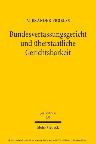 Bundesverfassungsgericht und überstaatliche Gerichtsbarkeit - Blick ins Buch