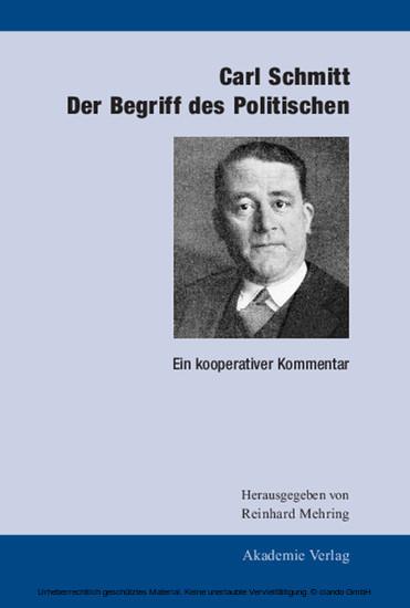 Carl Schmitt: Der Begriff des Politischen - Blick ins Buch