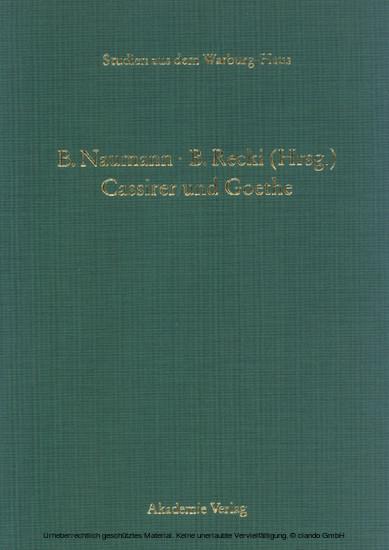 Cassirer und Goethe - Blick ins Buch