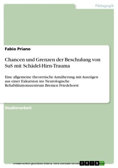 Chancen und Grenzen der Beschulung von SuS mit Schädel-Hirn-Trauma - Blick ins Buch