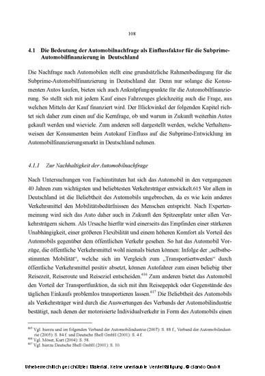 Chancen und Herausforderungen der Subprime-Automobilfinanzierung in Deutschland - Blick ins Buch