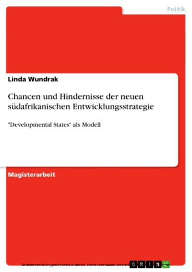 Chancen und Hindernisse der neuen südafrikanischen Entwicklungsstrategie - Blick ins Buch