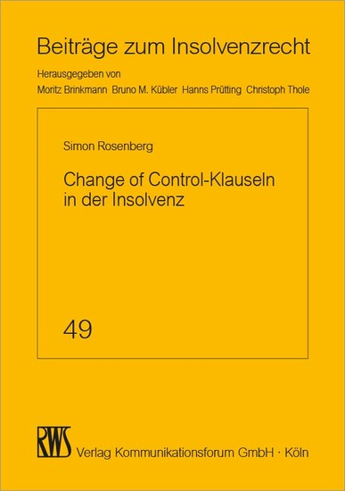 Change of Control-Klauseln in der Insolvenz - Blick ins Buch