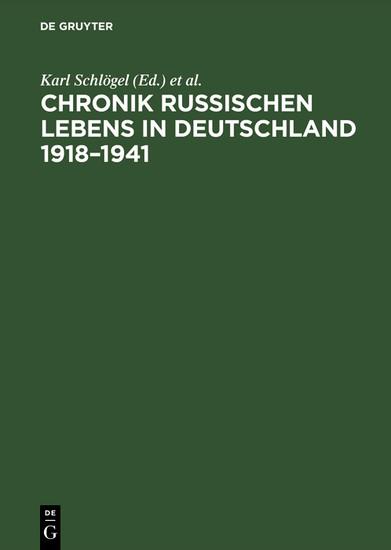 Chronik russischen Lebens in Deutschland 1918-1941 - Blick ins Buch
