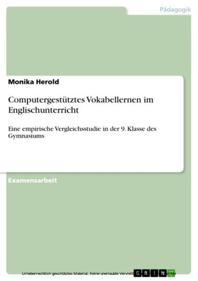 Computergestütztes Vokabellernen im Englischunterricht - Blick ins Buch