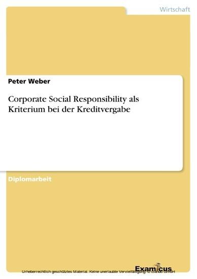 Corporate Social Responsibility als Kriterium bei der Kreditvergabe - Blick ins Buch