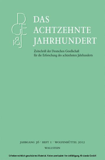 Das achtzehnte Jahrhundert 36/1 - Blick ins Buch
