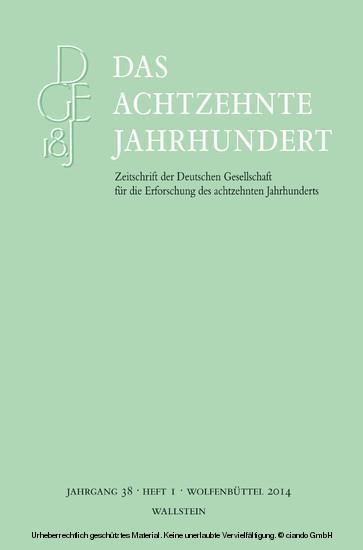 Das achtzehnte Jahrhundert 38/1 - Blick ins Buch