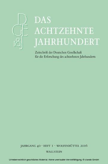 Das achtzehnte Jahrhundert 40/1 - Blick ins Buch