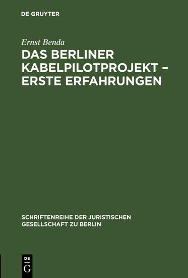Das Berliner Kabelpilotprojekt - erste Erfahrungen - Blick ins Buch