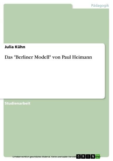 Das 'Berliner Modell' von Paul Heimann - Blick ins Buch