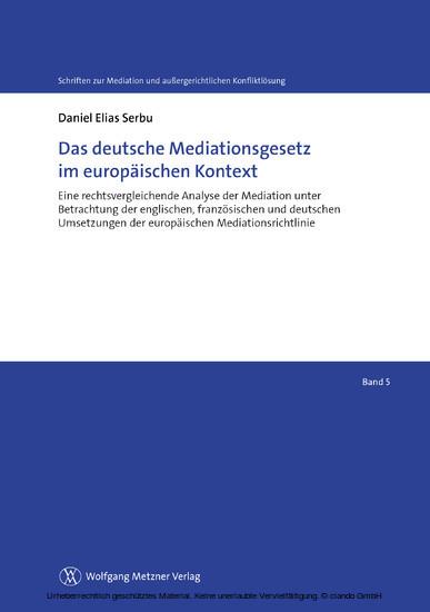 Das deutsche Mediationsgesetz im europäischen Kontext - Blick ins Buch