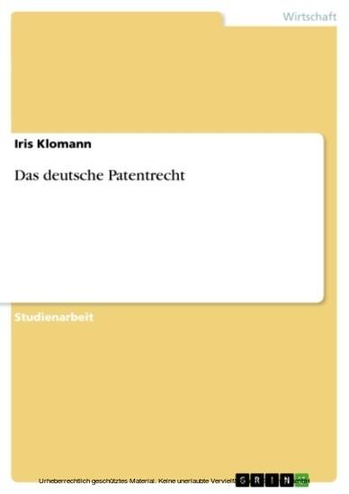 Das deutsche Patentrecht - Blick ins Buch