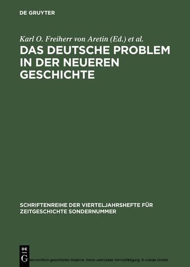 Das deutsche Problem in der neueren Geschichte - Blick ins Buch
