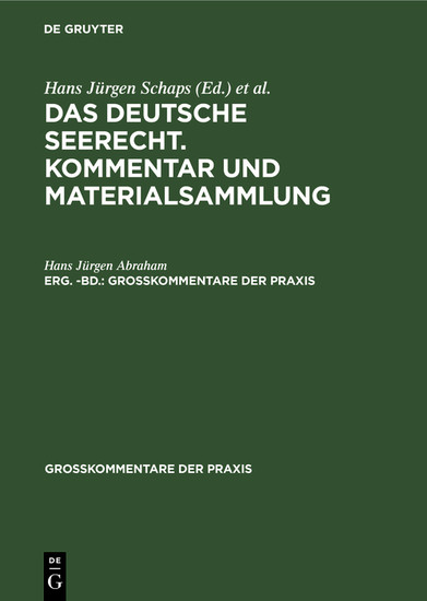 Das deutsche Seerecht. Kommentar und Materialsammlung. Erg. -Bd. - Blick ins Buch