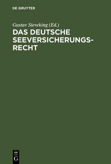 Das deutsche Seeversicherungsrecht - Blick ins Buch